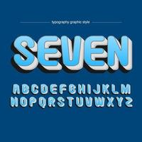 Rounded Bold 3D Blue Artistic Font