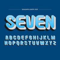 Afgerond vet 3D blauw artistiek lettertype vector