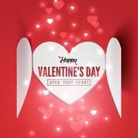 Paper art of heart pop up and open to Happy Valentine's day text in side vector