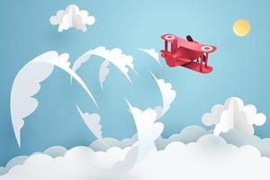 Papierkunst van rood vliegtuig dat over de hemel vliegt en de geluidsbarrière doorbreekt