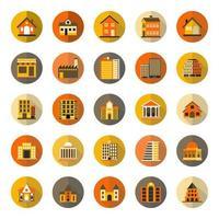 Conjunto de ícones plana de edifícios com sombra longa