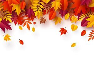 Paper art of Autumn, pile of colorful leaves vector