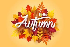 Arte en papel de la caligrafía Hello Autumn en hojas caídas vector