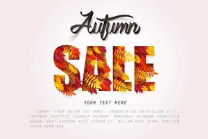 Paper art of Autumn sale calligraphy lettering with leaves inside text vector