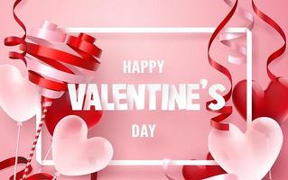 Paper art of Happy valentine's day Frame with ribbon and balloon