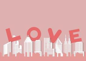 Fond de Saint Valentin avec mot d'amour et ville de style papier découpé