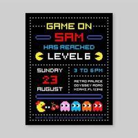 Plantilla de Vector de invitación de cumpleaños de Pacman