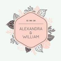 Rounded Hexagon Frame with Foliage. Wedding Invitation card.