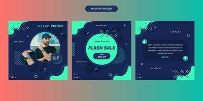 Sales social media post collection with geometric shapes on blue