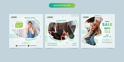 Sales social media template collection with geometric shapes on white