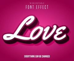 Love raised text effect vector