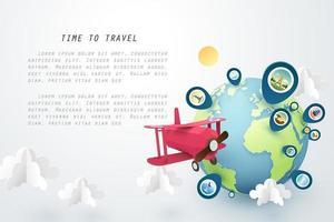 Tiempo para viajar diseño de arte en papel