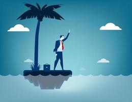 Businessman castaway on island vector