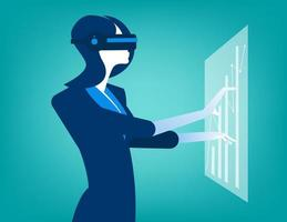 Businesswomen with virtual reality innovation vector