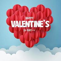 Happy Valentines Day Paper Balloons Design vector