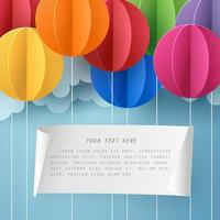 Paper art of blank paper with colorful balloon vector