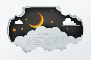 Arte en papel del cielo por la noche con espacio de copia vector