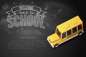 Paper art of school bus on blackboard vector