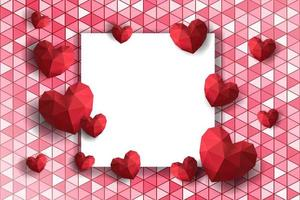 Valentine's Day frame with polygon hearts on geometric background