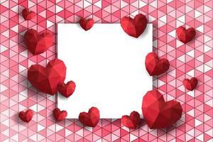 Marco de San Valentín con corazones de polígono sobre fondo geométrico vector