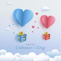 Valentine's Day card with paper cut style hot air heart balloon carrying gifts