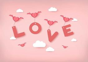 Valentines day vector background with pink hearts carrying Love text