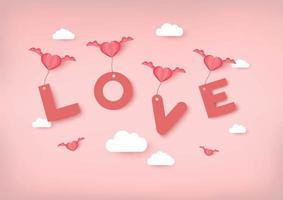San Valentino sfondo vettoriale con cuori rosa che trasportano amore testo
