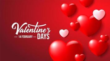 Corações de namorados romântico colorido 3D realista em fundo vermelho vetor