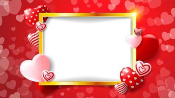 Golden frame Valentine's design with red, pink and patterned hearts vector