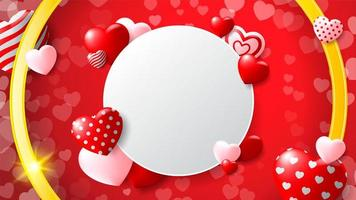Blank Circle Frame with Patterned Hearts and Golden Circle on Red Heart Background