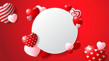 Blank Circle Frame with Patterned Hearts on Red Background vector