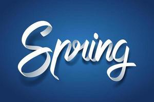 Arte de papel de caligrafía de primavera letras a mano