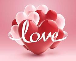 White ribbon of Love with red heart and white transparent balloon on pink background vector