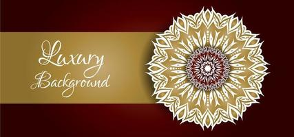 Golden and White Mandala Design on Red Background vector