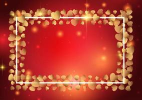 Valentines day background with gold heart frame  vector