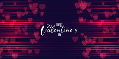 Valentines day banner design with hearts and blurred red lines