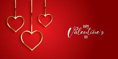 Valentines day banner with gold hearts  vector