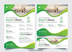 Green Wavy Design Business Flyer Template Set