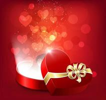Open, red, heart-shaped gift box with floating hearts