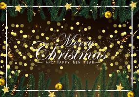 Christmas background with fir branches and golden ornaments