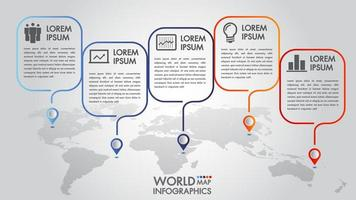 World map business infographics 4 options