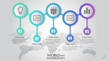 World map business infographics 5 step options vector illustration