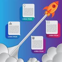 Lançamentos de foguete ou nave espacial de modelo de design de infográficos
