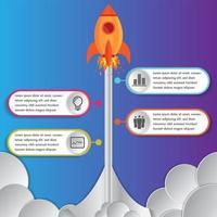 Lanzamientos de cohetes o naves espaciales de plantillas de diseño de infografías