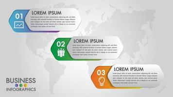 Infographics modern template for business with 3 steps, icons for 3 options