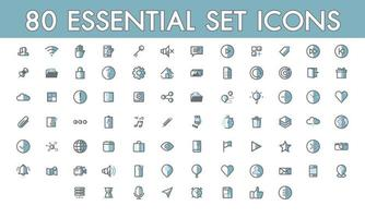 Set comunication simple 80 essential icon colorline filled outline symbols vector