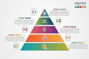 Pyramid infographic colorful template with 5 steps or options concept