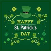 Saluto felice di giorno di San Patrizio con la foglia e i cappelli dell'acetosella su verde