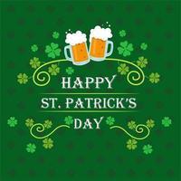 feliz dia de são patrício comemoração banner com folha de trevo e cervejas