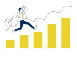 Businessman jumping up on graph.